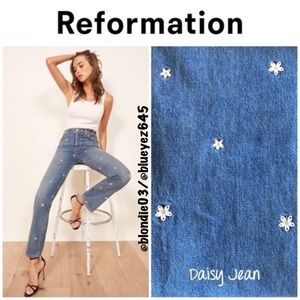 "Reformation ""Cynthia"" daisy embroidered jeans 30"